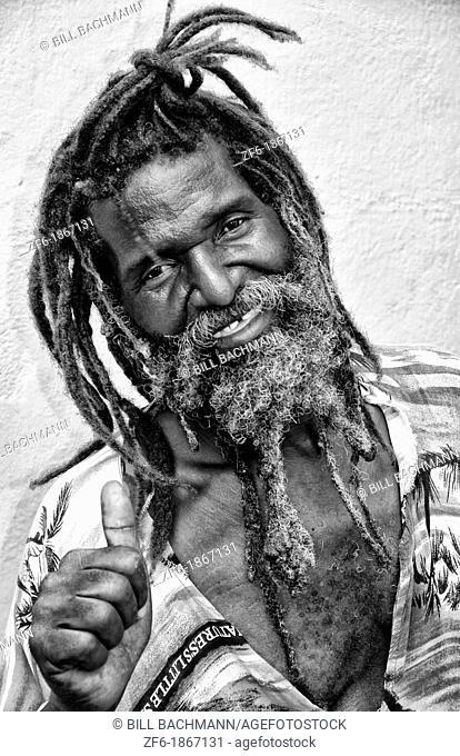 Rasta man in dress in St Thomas in US Virgin Islands
