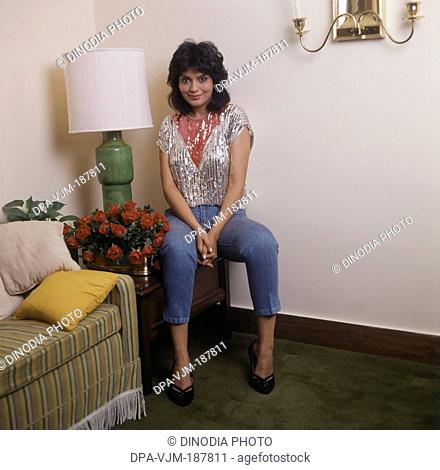 1985 Portrait of Indian film actress Zeenat Aman