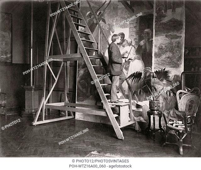 French painter Ferdinand Humbert in his Paris studio (The Académie Humbert) located 104 boulevard de Clichy in the 18th arrondissement in Paris