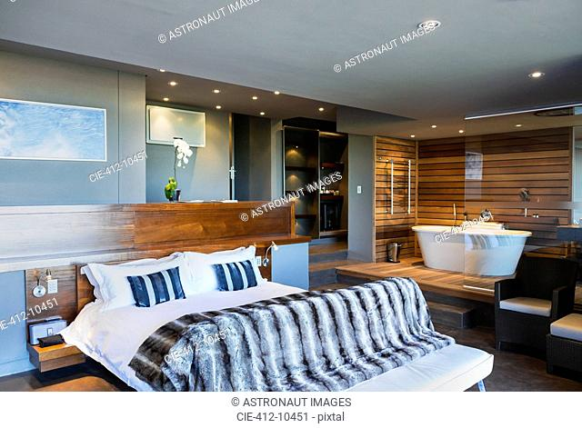 Bed and bathtub in modern master bedroom