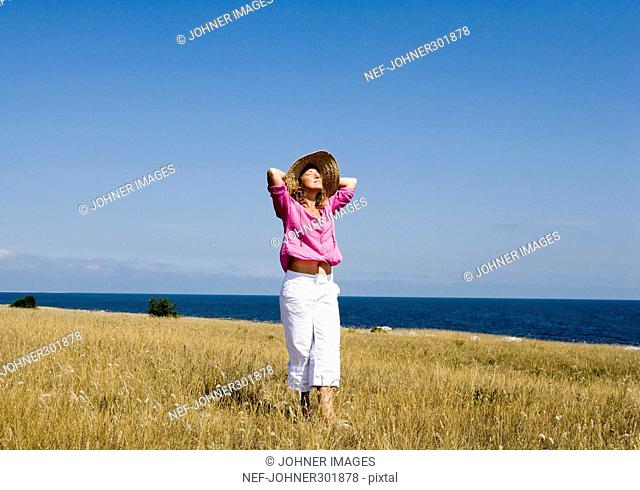 A woman by the sea