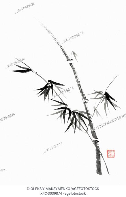 Minimalistic Japanese Sumi-e Zen black ink painting of bamboo stalk with young leaves on rice paper illustration fine artwork