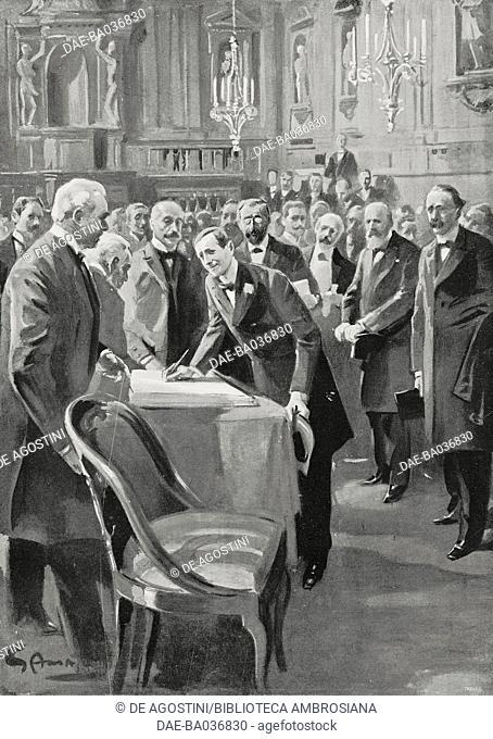 Guglielmo Marconi (1874-1937) received at the Archiginnasio in Bologna, Italy, drawing by Gennaro Amato (1857-1947), from L'illustrazione Italiana, Year XXIX