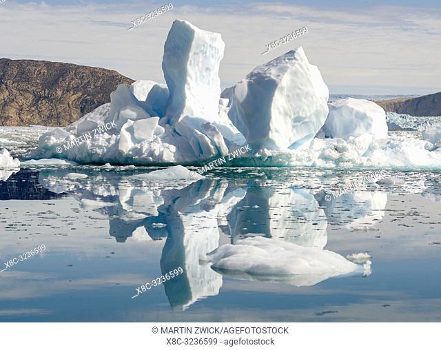 Fjord with icebergs, in the background the Eqip Glacier (Eqip Sermia or Eqi Glacier) in Greenland. Polar Regions, Denmark, August