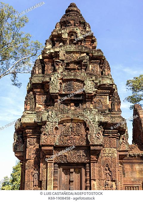 Banteay Srei is a 10th century Cambodian temple dedicated to the Hindu god Shiva  Located in the area of Angkor in Cambodia  It lies near the hill of Phnom Dei