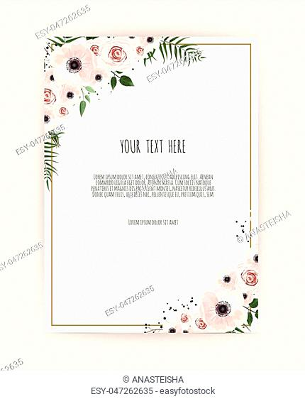 Card with leaves and geometrical frame. Floral poster, invite. Vector decorative greeting card, invitation design background