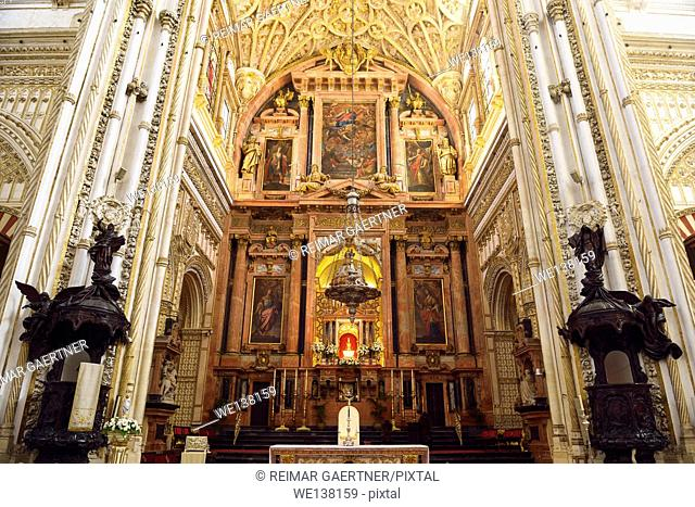 High main altar with carved wood lecterns of the Cordoba Our Lady of the Assumption Cathedral Mosque