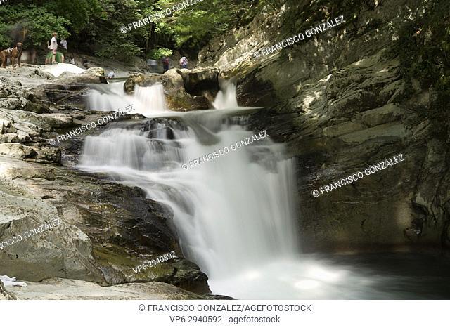 Cube waterfall in the Selva de Irati in Navarra, Spain