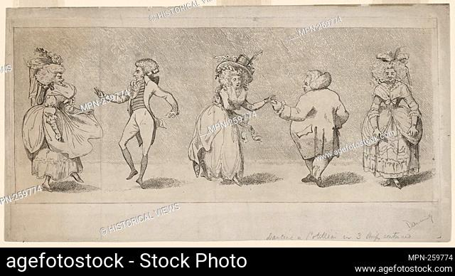 Dancing a cotillion. Prints depicting dance Subjects. Date Issued: 1790 - 1800 (Questionable). Ballroom dancing - 18th century Ballroom dancing - Caricatures...