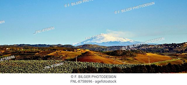 Landscape with Mount Etna, Sicily, Italy