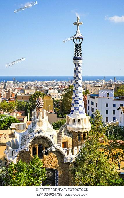 Park Guell by architect Antoni Gaudi in Barcelona, Spain