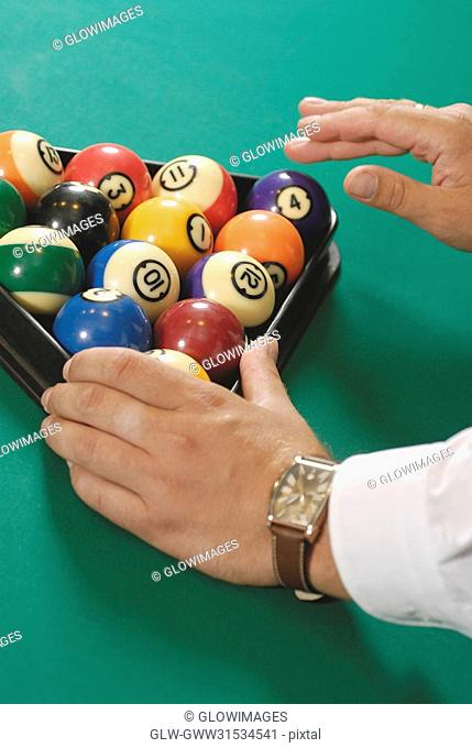 Close-up of pool balls on a pool table