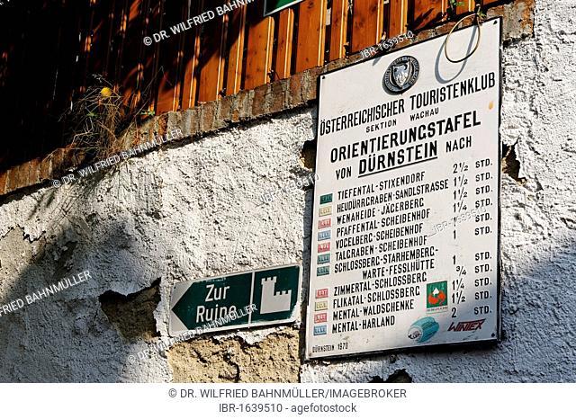 Hiking signs, Duernstein, Wachau, Lower Austria, Europe