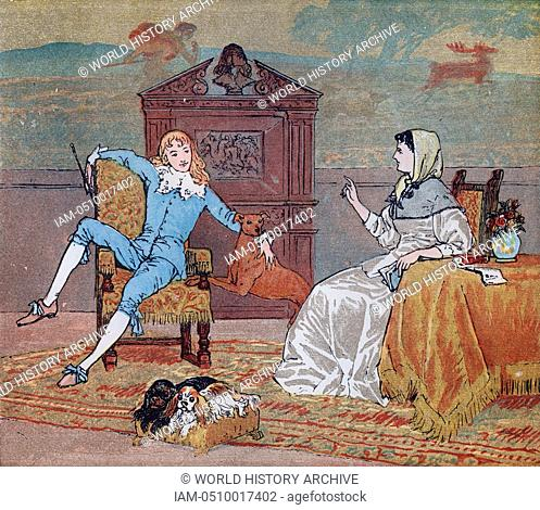 Illustration of the young squire and his mother from the Nursery Rhyme 'The Milkmaid'