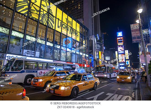 Yellow Cabs at the Times Square in New York. New york usa new york Times square busy crowded with tourists manhatten New york USA America United states of...