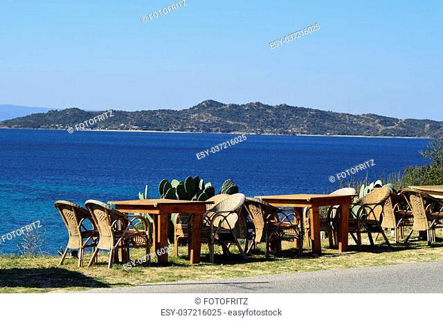 Greece, Athos Peninsula, Ouranoupoli, place with sea view to island Tripiti