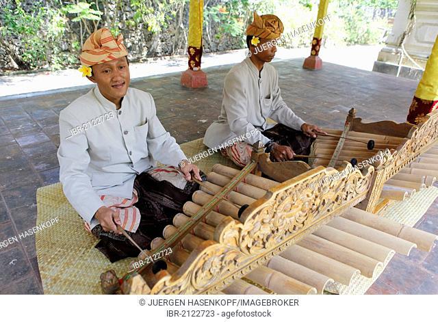 Gamelan players at a Hindu temple ceremony, Nusa Dua, Bali, Indonesia, Southeast Asia, Asia