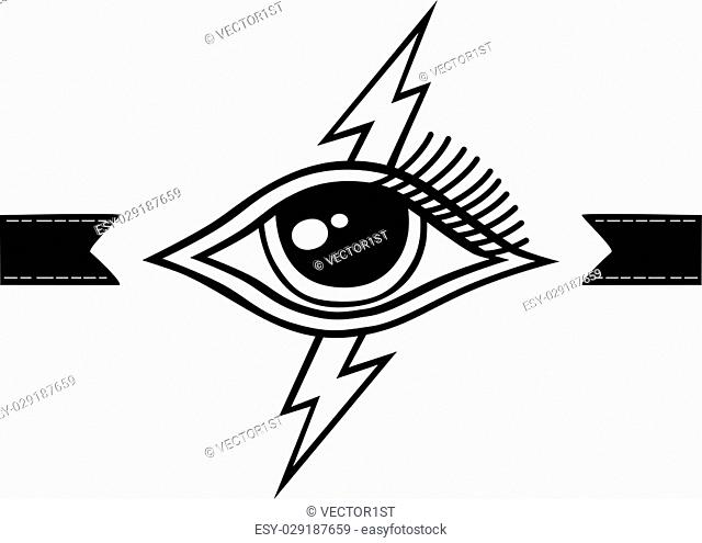 bolt lightning eye symbol theme vector art illustration