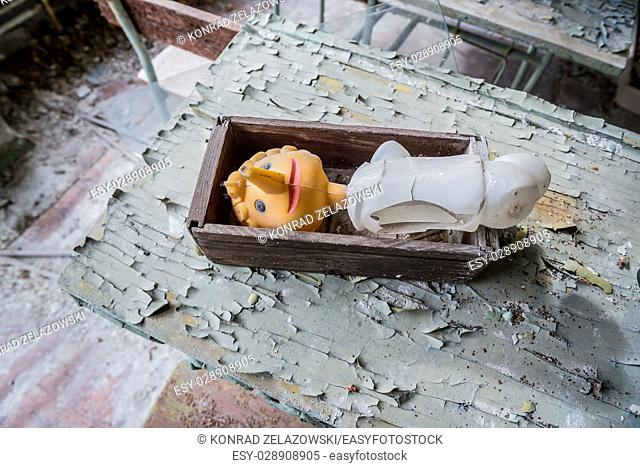 Plastic toy in High school No 2 in Pripyat ghost city of Chernobyl Nuclear Power Plant Zone of Alienation around nuclear reactor disaster in Ukraine