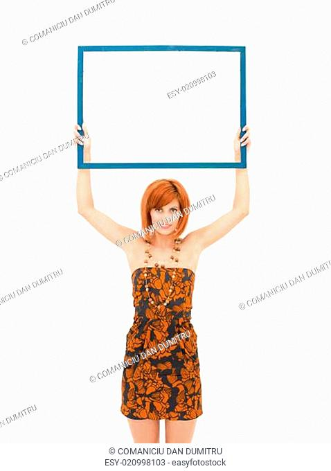 woman presenting an empty frame
