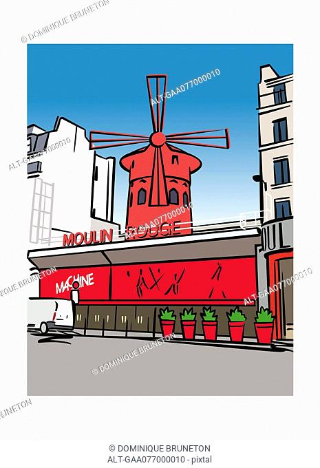 Illustration of the Moulin Rouge in Paris, France