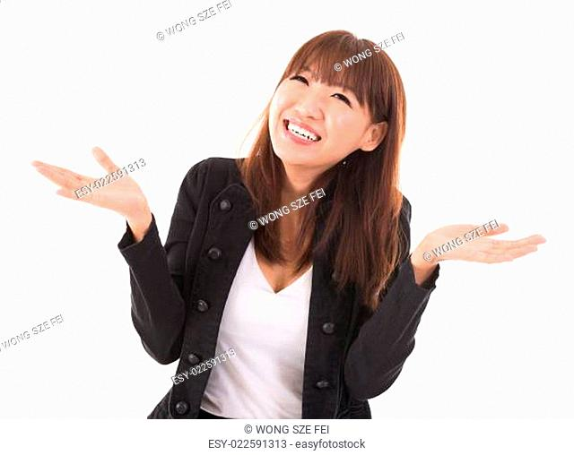 Asian businesswoman open arms showing unbelievable expression