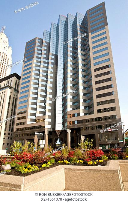 One Columbus Center skyscraper on the corner of Broad Street and High Street in Columbus, Ohio