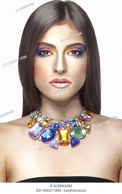 Closeup portrait of beautiful face with perfect makeup