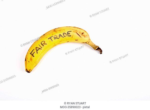 Banana against white background