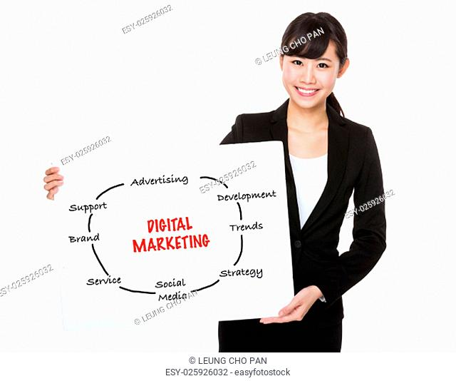 Asian businesswoman holding a board showing with digital marketing concept