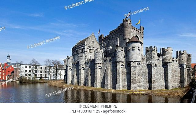 The meadieval Gravensteen / castle of the counts at Ghent, Belgium