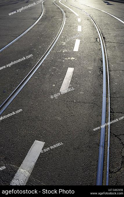 Tram tracks of the Milan tramway network