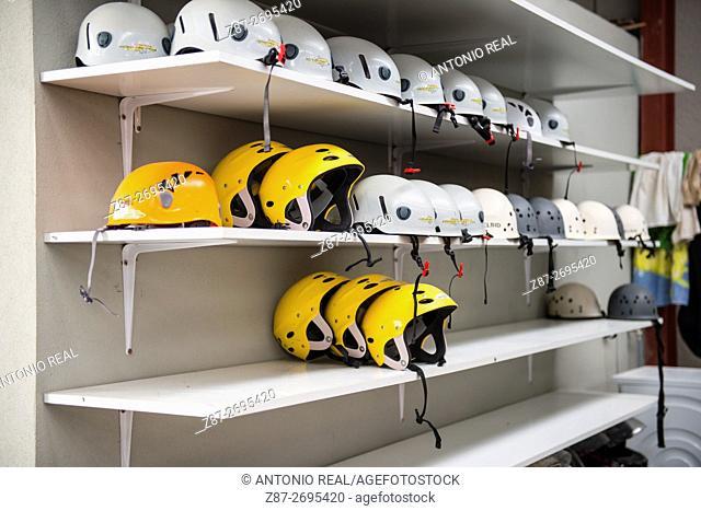 Helmets for rafting at Cabriel River. Casas Ibañez, La Manchuela region, Albacete province, Castile La Mancha, Spain