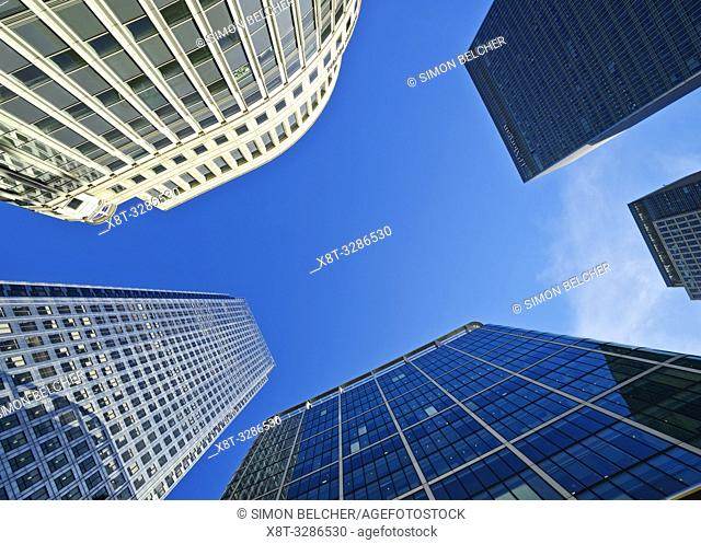 Canary Wharf, low angle View from Cabot Square, London, United Kingdom