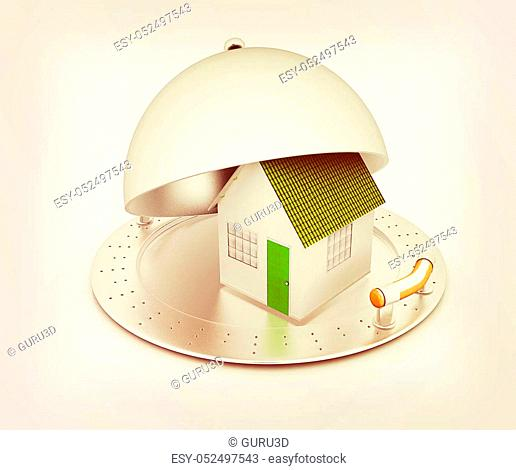 house on restaurant cloche isolated on white background. 3D illustration. Vintage style