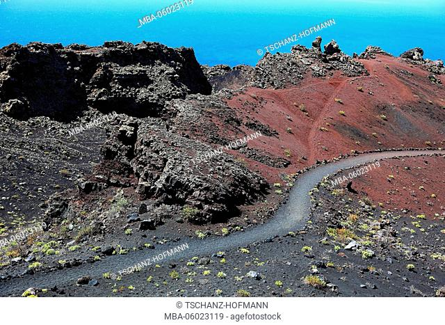 La Palma, Canary Island, hiking trail at Volcano San Antonio on Cap Fuencaliente