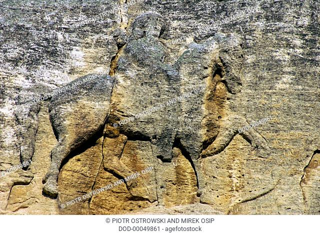 Bulgaria, Madara Plateau, carving of medieval Madara Horseman on rock face