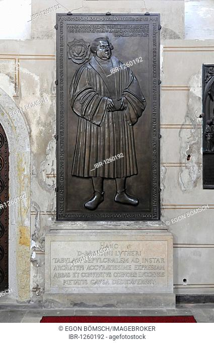 Epitaph of Luther, copy from 1892 after the original in Jena, Evangelische Schlosskirche Protestant castle church, Luther city Wittenberg, Saxony-Anhalt
