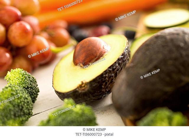 Close-up of halved avocado
