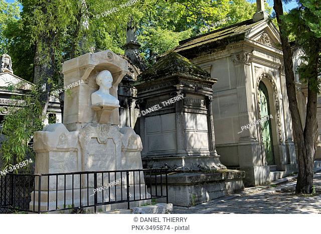 France, Paris 20th district. Pere Lachaise cemetery. Grave of the poet Alfred de Musset (1810-1857), works of the sculptor Auguste Barre
