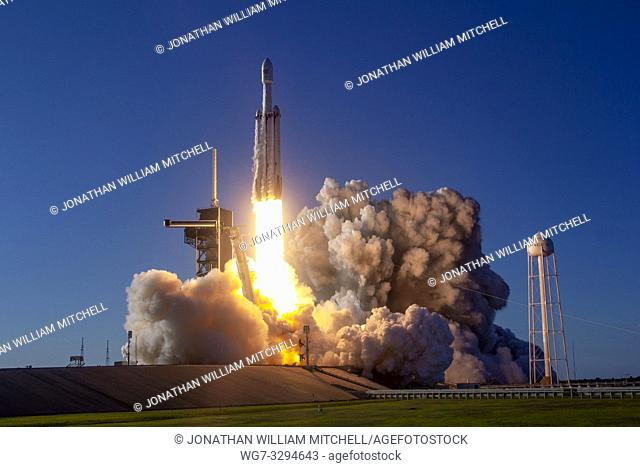 KENNEDY SPACE CENTRE, FLORIDA, USA - 11 April 2019 - The SpaceX Falcon Heavy rocket launches the Arabsat-6A satellite from Launch Complex 39A at NASA's Kennedy...