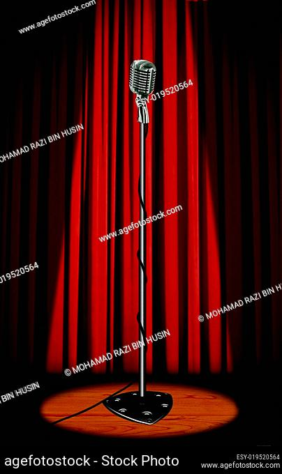 Vintage microphone with red curtain