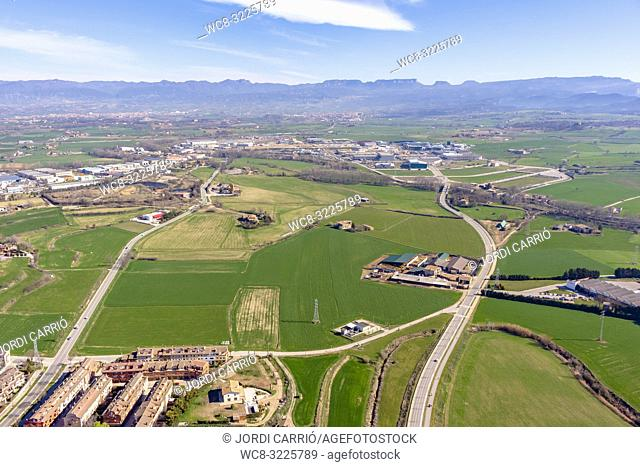VIC, CATALONIA, SPAIN - MARCH 2018: Aerial views of the Osona region, from the hot air balloon participating in the XXXV edition of the International Mercat Ram...