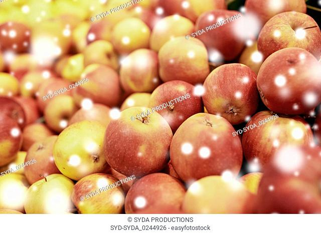ripe apples at grocery store or market