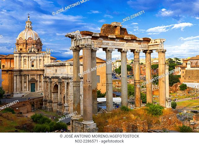 Temple of Saturn, Septimius Severus Arch, Santi Luca e MartinaChurch, Roman Forum, Rome, Lazio, Italy, Europe