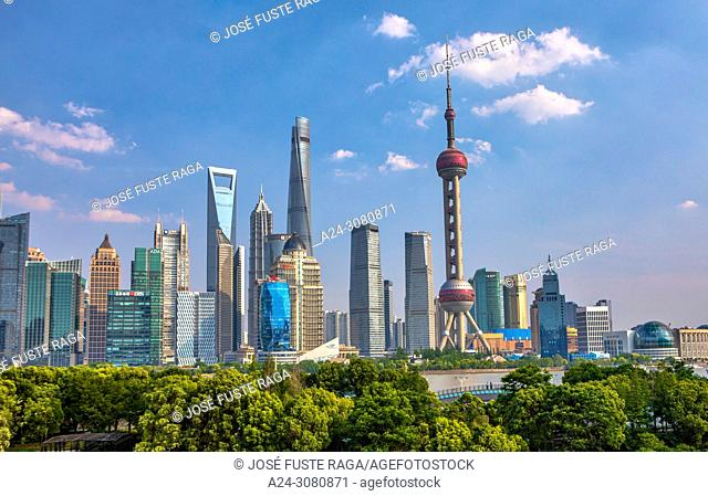 China, Shanghai City, Pudong District, Lujiazui Area, World Financial Center, Shanghai Tower and Oriental Pearl Tower