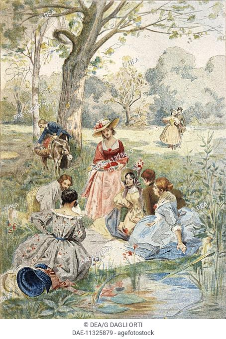 France, 19th century. The Luncheon on the Grass. Illustration by A. Lynch from Octave Uzanne (1851-1931), La Francaise du siecle: modes, moeurs, usages, 1886