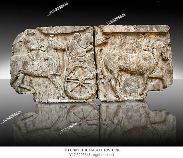 Procession of Chariot & Horsemen freeze from the Heros Shrine of the Acropolis of Xanthos, thought to be the shrines of legendary warriors of the trojan wars...
