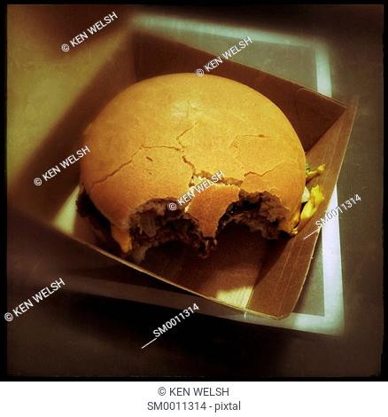 Half eaten hamburger in box. Shape suggestive of a skull