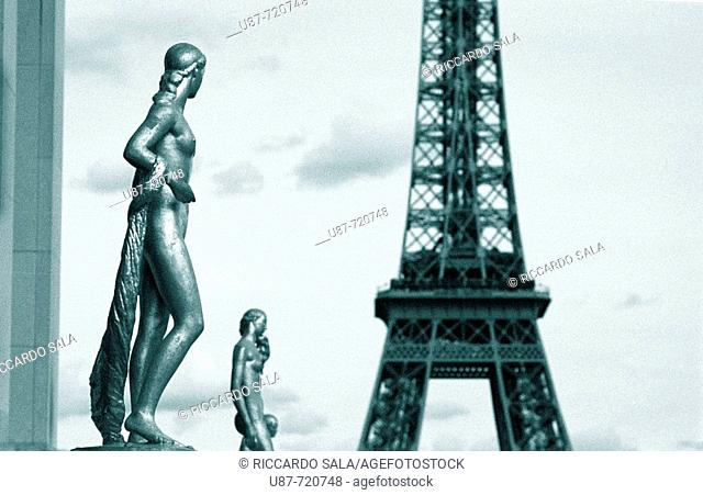 Statues at Trocadero with Eiffel Tower in background, Paris, France